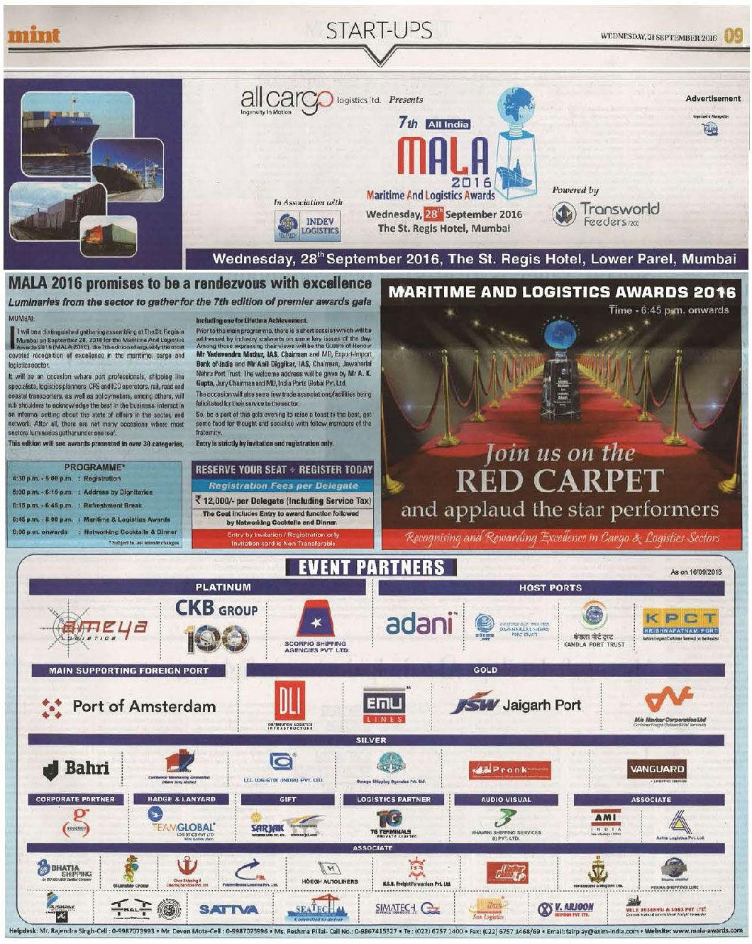 One of the Prime Sponsors for 7th Maritime & Logistics Awards 2016