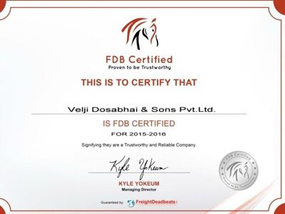 The FDB certificate certifying the trustworthiness and reliability of VDSPL