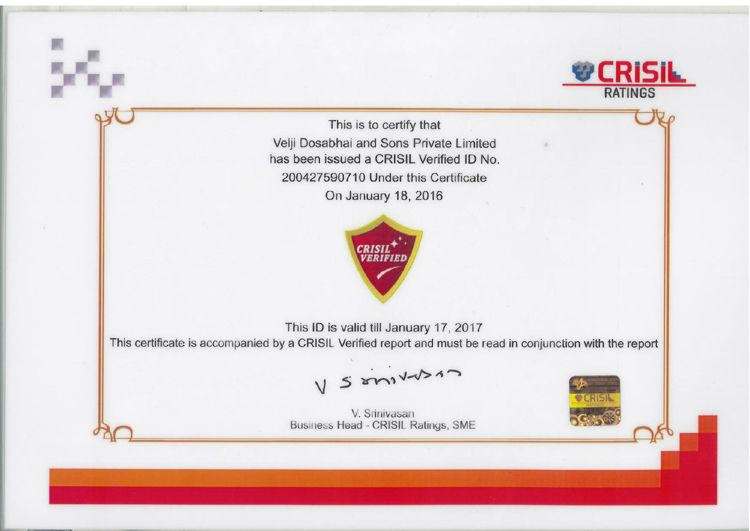 VDSPL is now a CRISIL ceritified company