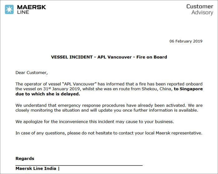 Trade Notice Received From MAERSK LINE - VESSEL INCIDENT - APL Vancouver - Fire on Board
